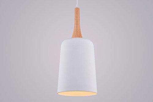 CAGUSTO Pendelleuchte Orbo I Weiß Metall Holz Natur Modern Hängeleuchte Retro