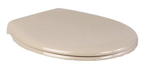 SITZPLATZ® WC-Sitz mit Absenkautomatik, Bahama-Beige, für spülrandloses Stand-WC (57226 2), antibakterieller Duroplast, abnehmbar, Fast-Fix Befestigung, Standard O Form, Metallscharniere, 57229 3