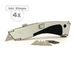 """Preisvergleich Produktbild Cutter Messer """"Profi"""" mit Ersatzklingen,  1 Stück,  176mm Länge,  mit auszuwechselnder Klinge,  3 Ersatzklingen im Set enthalten"""