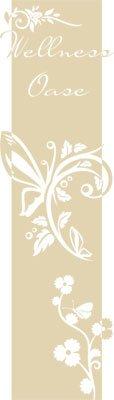 Preisvergleich Produktbild Wandtattoo Türaufkleber Türbanner für Badezimmer Spruch Wellness Oase Blumen (200x57cm//082 beige)