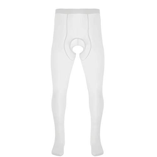 iEFiEL Herren Strumpfhose-Ouvert Mesh Hose Männer Legging Offen Schritt Stretch Tights Pants Unterwäsche Weiß One Size -