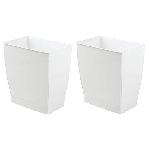 Mdesign set da 2 bidoni spazzatura – ideale come cestino spazzatura o pattumiera raccolta differenziata – secchio spazzatura moderno per cucina, bagno o ufficio – bianco