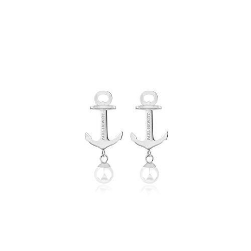 PAUL HEWITT Edelstahl Ohrstecker Damen Anchor Pearl - Ohrring Stecker Silber, Damen Ohrringe Silber mit Perle (Weiß)