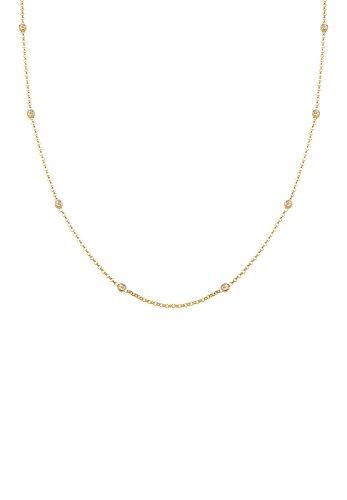 Elli Damen Echtschmuck Halskette Solitär Basic mit Swarovski Kristallen in 925 Sterling Silber vergoldet Länge 45 cm