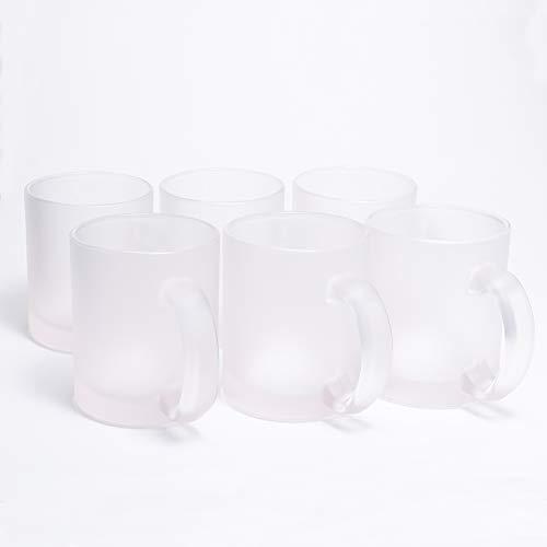 inierte Kaffee-Tassen ohne Druck transparent weiß im Frosted Look, Elegante Milch-Glas Becher für Büro und Haushalt, 300ml-Tasse Tee-Pott ()