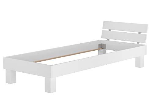 Erst-Holz® Einzelbett Buche-Bettgestell weiß massiv 120x200 Futonbett Jugendbett ohne Zubehör 60.86-12WoR