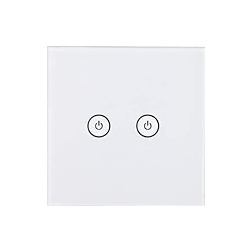 LIOOBO WiFi-Wandleuchte Touch-Schalter Intelligente Fernbedienung Glasscheibe Schalter 2 Gang Weiß (Lichtschalter Installieren Dimmer)