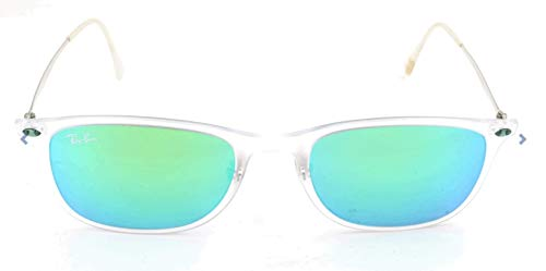 Ray-Ban Unisex New Wayfarer Light Ray Sonnenbrille, Mehrfarbig (Gestell: Transparent/Gunmetal, Gläser: Blau Verspiegelt 646/55), Medium (Herstellergröße: 52)