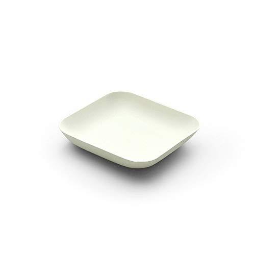 Teller aus Zuckerrohr in Weiß 80x80xH15mm   Bio Einweg Kuchenteller Dessertteller Snackteller Einwegteller   40 Stück (Palmen 15mm)