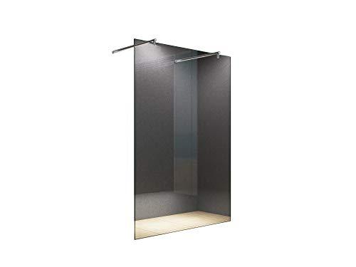 duschwand freistehend Freistehende 120x200 cm Duschabtrennung LILY Klarglas mit Runder Haltestange, Duschwand, Walk-In Dusche, 10 mm ESG Sicherheitsglas