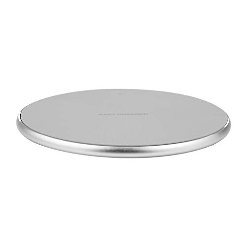 Yue668 Ultradünne Metal Charge Qi 10W Schnelle Wireless Charging Pad Aufladen Power Station Ladeständer Ladestation Ladegerät Für Samsung (Grau) Lg-metal-handy
