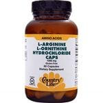 Country Life L-Arginine + L-Ornithine with B-6, 60 Caps, 1000 Mg by Country Life