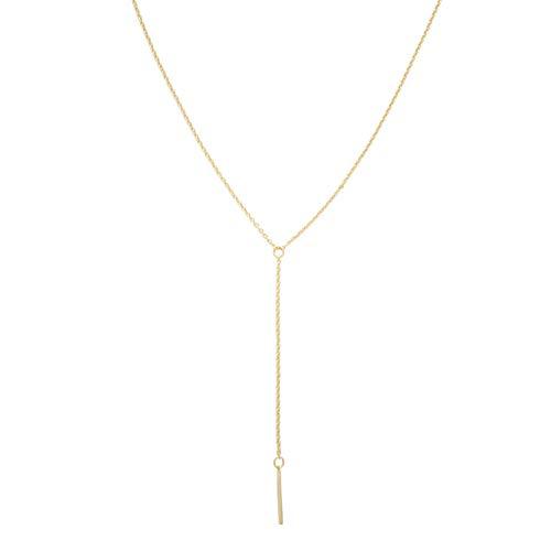 HONEYCAT Lariat Bar Halskette in 24 Karat Gold-Platte | Minimalist, Delicate Schmuck (Gold)