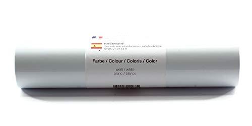 Selbstklebende Plotterfolie Vinylfolie 21 cm x 3 m glänzend 39 Farben zur Auswahl, Farbe:Weiß