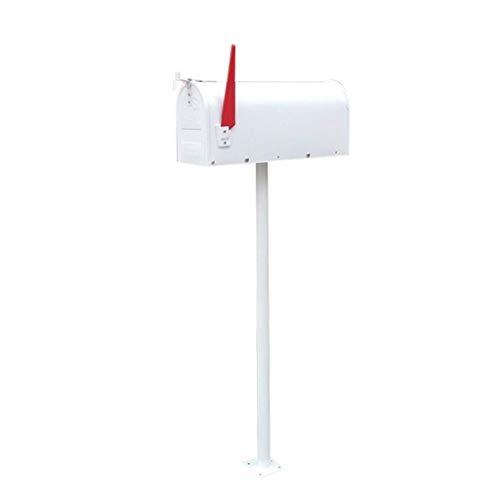 ZRL77y Briefkästen Dekorative Medium Capacity Galvanized Steel Schwarz, Mailbox & Post Combo, Weiß