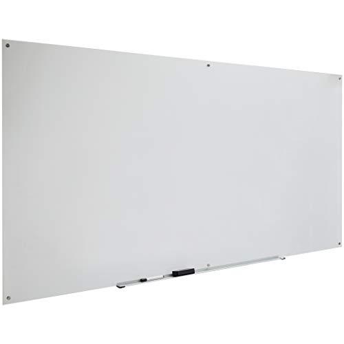 AmazonBasics - Pizarra de borrado en seco de vidrio - Esmerilada, no magnética, 2,43 x 1,21 m