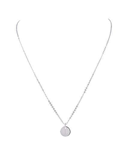 SIX Damen Halskette, Gliederkette, Anhänger, Kreis, Anfangsbuchstabe, Buchstabe, Initialien, L, Name, Silber (779-958)