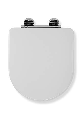 Croydex Flexi-Fix Garda D Immer passt nie gleitet langsam schließender WC-Sitz, Holz, Weiß, 42x 37,2x 6cm (Langsam, Wc-sitz)