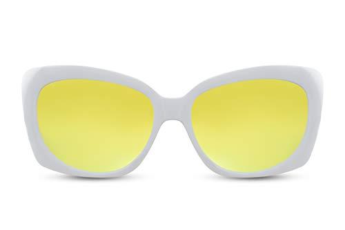 Cheapass Sonnenbrille Groß Rund Cat-Eye Weiß Verspiegelt Schmetterling UV-400 Plastik Damen Frauen