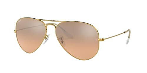 Ray-Ban RB3025 Aviator Large Metal Unisex Aviator Mirror Sunglasses (Gold Frame/Crystal Brown Pink Silver Mirror 001/3E, 58)