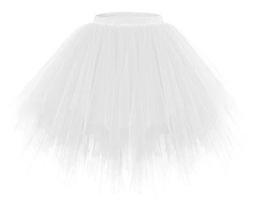 Tanz Tutu Kostüm Kleid - bridesmay Tutu Damenrock Tüllrock 50er Kurz Ballet Tanzkleid Unterkleid Cosplay Crinoline Petticoat für Rockabilly Kleid White M