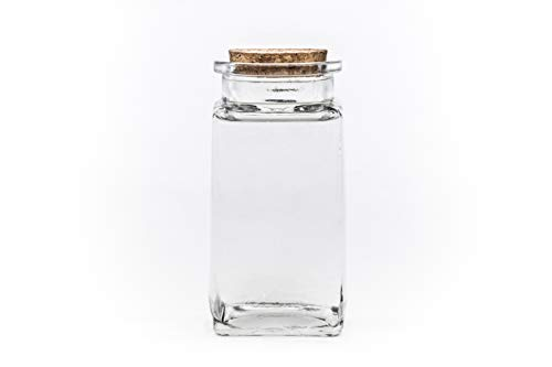 6 Stück 285 ml Glasbehälter, Glasflasche Glasdosen Vorratsgläser Bonbongläser Aufbewahrungsdose mit Korken-Verschluss Deckel Gewürzglas eckig Vorratsdosen 0,285 liter Nr 250ML von slkfactory.