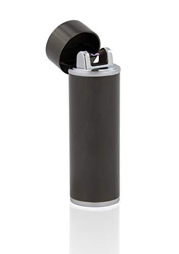 TESLA Lighter T02 | Lichtbogen Feuerzeug, Plasma Single-Arc, elektronisch wiederaufladbar, aufladbar mit Strom per USB, ohne Gas und Benzin, mit Ladekabel, in Edler Geschenkverpackung, Schwarz