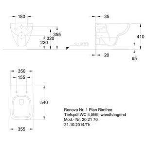 Keramag Renova Nr.1 Plan Tiefspül-WC spülrandlos, wandhängend weiß - 3