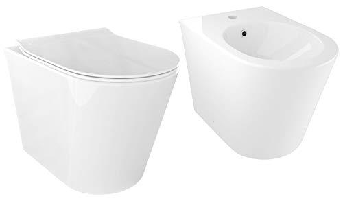 Coppia di Sanitari WC e Bidet a Terra Filo Muro in Ceramica 36,5x54,5x39,5 cm Oceano Naggi Bianco Lucido