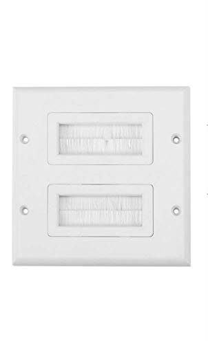 Anti-Dust Brushplate Cable Wall Plate Port White Brush Strip Wallplate Insert Outlet Cable Faceplate Mount Multimedia Panel ( Style : Double gang ) Mount Wall Plate
