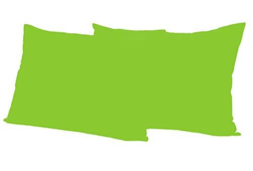 Leonado Vicenti 2 Stück Kissenbezug Baumwolle Renforce 50x70 cm Grün Kissenhülle mit Reißverschluss