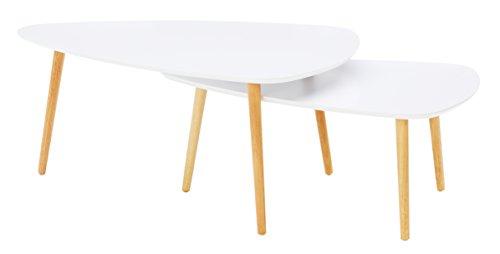 HomeTrends4You 205226 2-Satztisch, 100 x 43 x 70 cm / 90 x 36 x 60 cm, weiß matt
