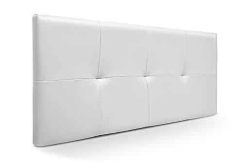SUENOSZZZ-ESPECIALISTAS DEL DESCANSO Cabecero de Cama de 90 y 105 cm Modelo Lhasa Acolchado tapizado en Polipiel, Color Blanco 110 x 57 cm