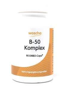 Woscha B-50 Komplex, 90 K-Caps (vegan) - Vitamin B-komplex 50 Caps