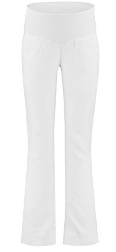 Love2Wait legere Leinen-Hose Leinenhose Damenhose Umstandshose Stretchhose- Gr. XS (34-36) Herstellergröße: 28, Weiß