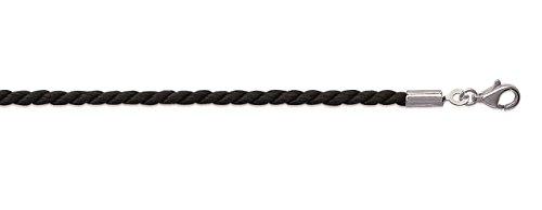 Collier en Cordon de Coton Torsadé Noir - Largeur 2,5 mm - Longueur 50 cm - Fermoir en Argent 925/000