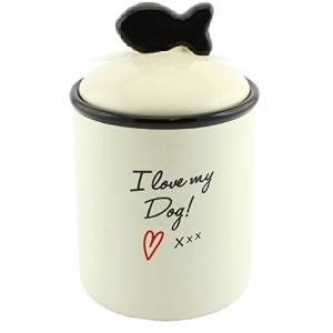 i-love-my-dog-pet-snack-treats-food-jar-lid-storage-biscuits-ceramic-puppy-new