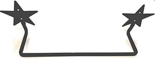 Handtuchhalter aus Schmiedeeisen, mit Sternenmotiv, schöne Schwarze Oberfläche, 4,6 m Stange, handgefertigt von Amish of Lancaster County PA. -