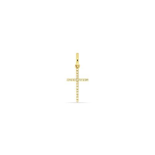 Juwelier Gelber Anhänger Diamant Kreuz 750/000 18 Kt Gelb Gold 10x15mm 21 Brillanten Weiß SI