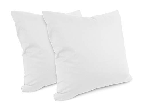 npluseins Renforcé-Kissenbezüge im Doppelpack - 100{7279ab7ecfd4d3db09499b72e37f687f4e071f84a48e4e32bbbe9af470485a3d} Baumwolle – schlicht und edel im Design, in 8 Uni-Farben, 40 x 40 cm, weiß