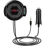 Bluetooth FM Transmitter HIFI Wireless Audio Receiver Microphone Hands Free Calling Phone Holder AUX Input for iPhone Android and MP3 Car Kit with USB Fast Car Charger