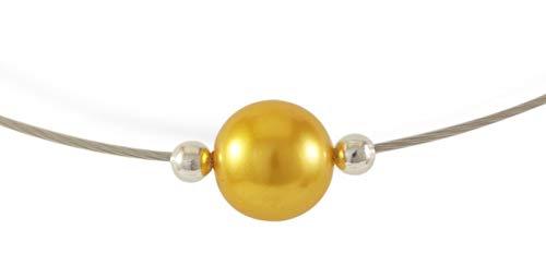 Stahlseil Collier aus Edelstahl Drahtkette mit hochwertiger bunter Glasperle und silbernen Spacer Perlen   Damen Halskette   Kette   Stahlkette   Choker   Halsreif   minimalistisch/elegant (Gelb)