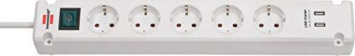 Brennenstuhl Bremounta Steckdosenleiste 5-Fach mit USB-Ladefunktion (Steckerleiste mit Befestigungsmöglichkeit, 3m Kabel und Kindersicherung) weiß