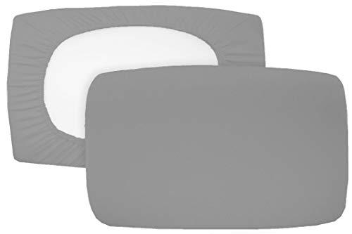 2er Pack Spannbezug für Nackenstützkissen Baumwolljersey (mit Elasthan) 36x50 bis 36x60 cm, grau