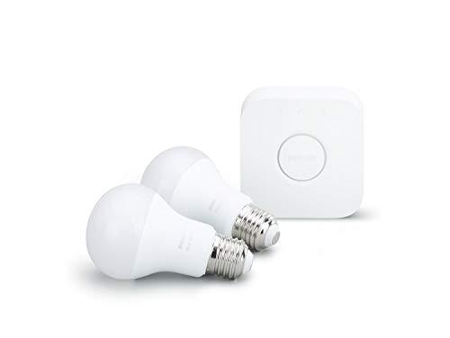 Philips Hue White LED Lampe 9,5 W, EEK A+, A60 E27 Starter Set inklusive Bridge, 2-er Set - 2