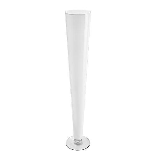 CYS® Trompete Vase mundgeblasenes Glas Pilsner Vasen für Mittelpunkt, glas, WHITE/1PCS, 24