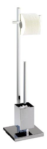 Wenko 17110100 Stand WC-Garnitur Quadro - Vierkantrohr, Stahl, 23.5 x 72.5 x 18.5 cm, Chrom