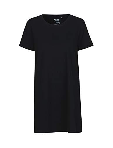 Green Cat- Ladies Long Shaped T-Shirt, 100% Bio-Baumwolle. Fairtrade, Oeko-Tex und Ecolabel Zertifiziert, Textilfarbe: schwarz, Gr.: L