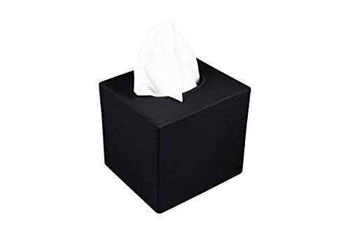 Lucrin - Boite carrée pour mouchoirs - Noir - Cuir Lisse Noir