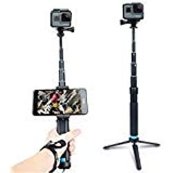 AnKooK Selfie Stick, 2 in 1 Bastone Selfie Treppiede Estensibile per GoPro Hero 6/5/Hero 4/3 +, iPhone/Samsung Galaxy/Smartphone GP001,Lega di Alluminio Hand Grip, Impermeabile
